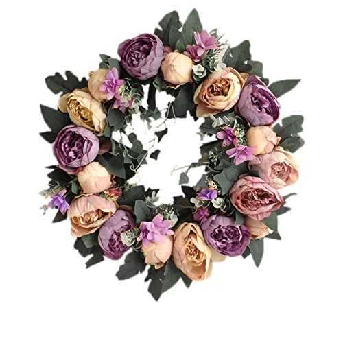 Yuccer Spring Door Wreath, Summer Floral Twig Rose Handmade Artificial Flowers Garland for Front Door Home Party Decor 15 Inch (purple)