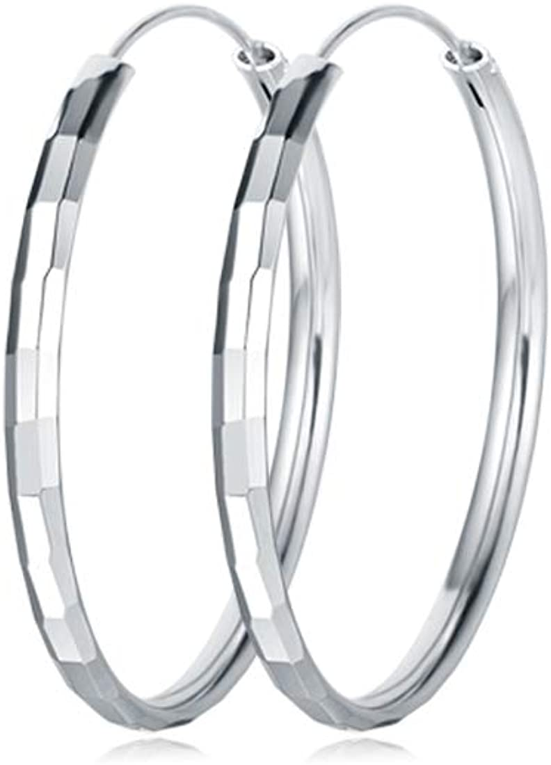 Carleen White Gold Plated Sterling Silver Diamond-Cut Large/Big Huggie Piercing Circle Endless Hoop Earrings For Women Girls, Size 30 50mm