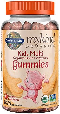 Garden of Life - mykind Organics Kids Gummy Vitamins - Fruit - Certified Organic, Non-GMO & Vegan Complete Children's Multi - B12, C & D3 - Gluten, Soy & Dairy Free - 120 Real Fruit Chew Gummies