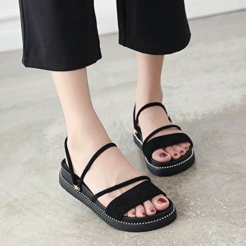 YMFIE Verano 2018 Nueva Moda Moda Cruzar los Dedos Lazos señoras Sandalias de Fondo Plano Antideslizante Calzado de Playa. a