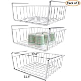 Monpearl 3 Pack Under Shelf Basket, Under Cabinet Basket, Under Shelf Storage, Hanging Shelf Basket, Under Shelf Wire Rack Basket, Shiny Silver, Small Size, 12.6 x 9.4 x 4.9