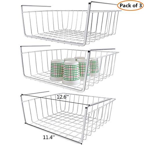 (Monpearl 3 Pack Under Shelf Basket, Under Cabinet Basket, Under Shelf Storage, Hanging Shelf Basket, Under Shelf Wire Rack Basket, Shiny Silver, Small Size, 12.6 x 9.4 x 4.9)