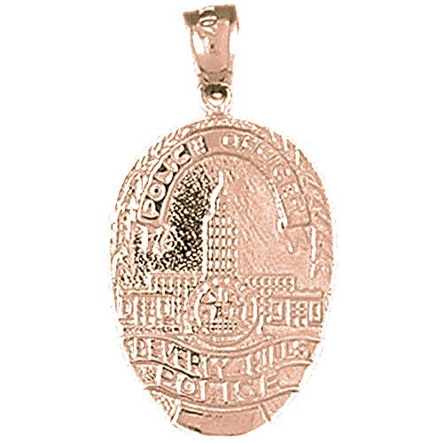 14K Rose Gold Beverly Hills Police Pendant Necklace - 30 mm Beverly Hills Gold Jewelry