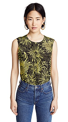 Diane von Furstenberg Women's Sleeveless Shell Blouse, Worsley Citron/Rowe Dot Citron, Petite (Silk Sleeveless Petite Shell)