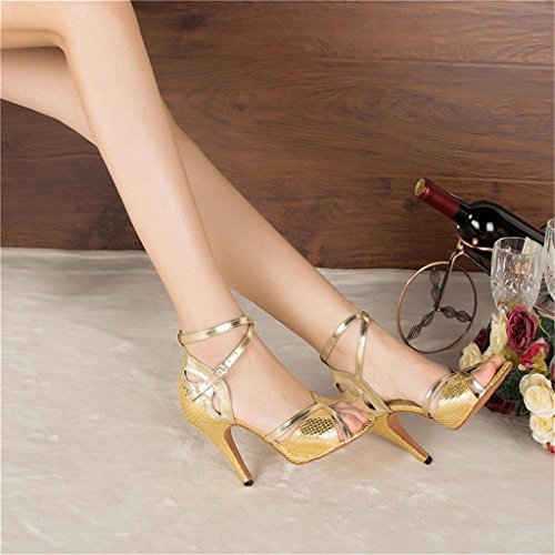 Stiletto US Gold Latin Modern Women's 9B Dance Salsa Shoes Heels High Monie Sexy Ballroom OqAn8OHw