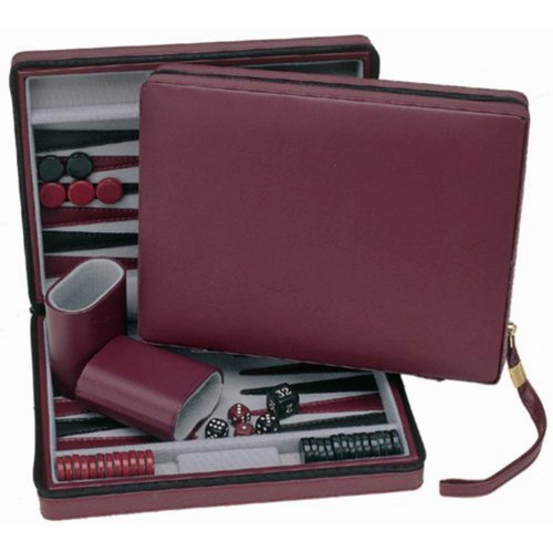 (Wood Expressions WE Games Burgundy Magnetic Backgammon Set with Carrying Strap - Travel Size)