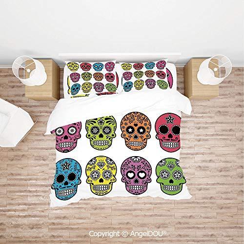 PUTIEN Soft Microfiber Duvet Cover Set (1 Duvet Cover+ 1 Sheet +2 Pillow Cases) Bedding Set,Ornate Colorful Traditional Mexian Halloween Skull Icons Dead Humor Folk Art Print,Quilt Cover for Women -