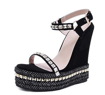 Shiney Cuñas De Mujer Sandalias De Tacón Alto 2018 Nuevas Zapatillas De Estilo Romano Cómodo Black: Amazon.es: Deportes y aire libre