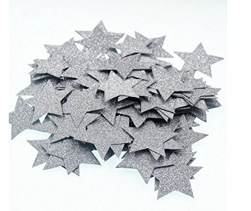 - 2 Packs Glitter Silver Five Stars Paper for Wedding party, Table Confetti, Festival Items & Party Props, Gold Glitter Paper Confetti (200pcs of 1