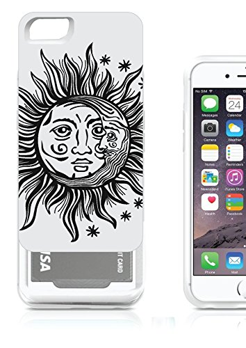 iPhone 6 6S Credit Card ID Case Cover Holder OxyCardCase Cresent Sun Moon Face Astronomy Hipster Meme Hybrid Wallet Case For Girls WIth 2 Slots For - Hipster Sun