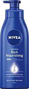 NIVEA Rich Nourishing Moisturising Body Lotion & Moisturiser with Intensive Moisture Serum & Almond Oil for Dry to Very Dry Skin, 400ml