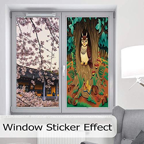 - YOLIYANA Stained Glass Window Film,Owls Home Decor,for Bathroom Shower Door Heat Cotrol Anti UV,Old Wise Nanny Grandma Owl in The Chestnut,24''x48''