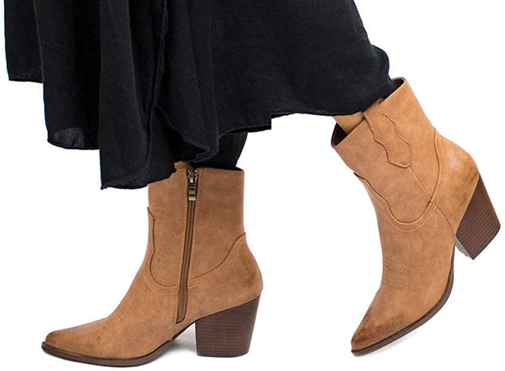 PAYMA Botin Cowboy Mujer Negro//Marron