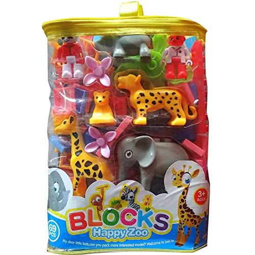 IndusBay Happy Jungle Blocks   Zoo Blocks   Animal Blocks   Kids Learning Blocks About Jungle  amp; Animals  69 pcs   Big Size