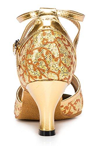 Tda Womens Avvolgere La Caviglia Floreale Glitter Sintetico Salsa Tango Ballroom Latino Moderno Scarpe Da Ballo Di Danza 6cm Tacco Oro