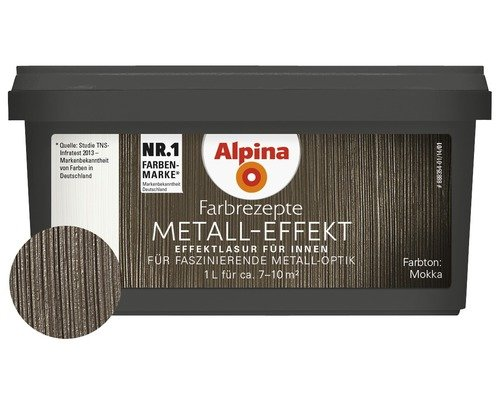 Alpina Farbrezepte Effektlasur Metall-Effekt Mocca Glä nzend 1 Liter
