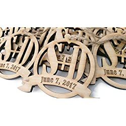 Personalized Wedding Party Favor - Circle Ornament with Initials and Date - set of 10 - each 3.5 in by 3.25 in - Birch