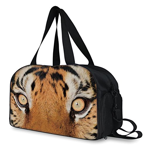 iPrint Travelling bag,Safari Decor,Close up Tiger Eyes Hunter Look Feline Camouflage Coat Animal with Shady Colors Photo,Orange Black ,Personalized by iPrint (Image #1)