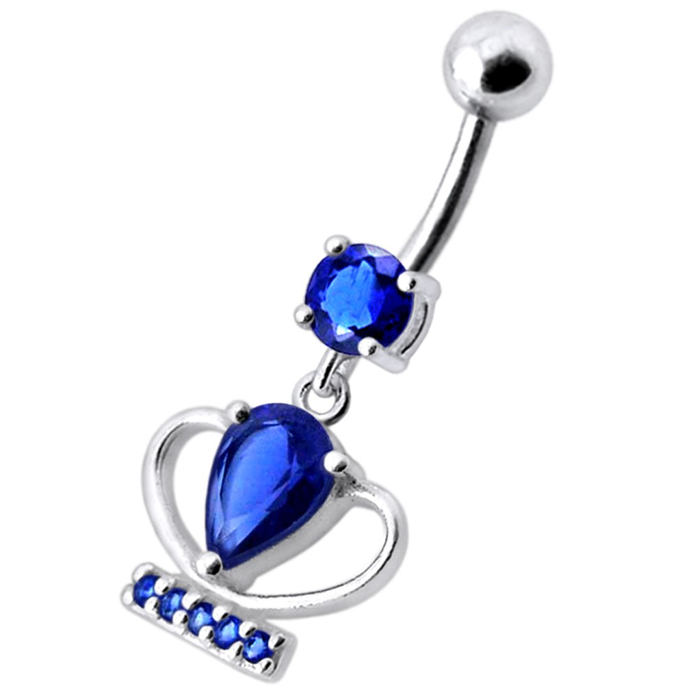 CZ Stone Trophy Cup Dangling Design 925 Sterling Silver Belly Button Piercing Ring Jewelry