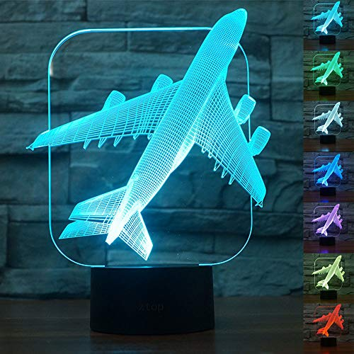 Abstractive 3D Aircraft Warplane Optical Illusion Night Light 7 Color Change Touch Switch USB Powered LED Halloween Decoration Desk Lamp for Holiday Birthday -