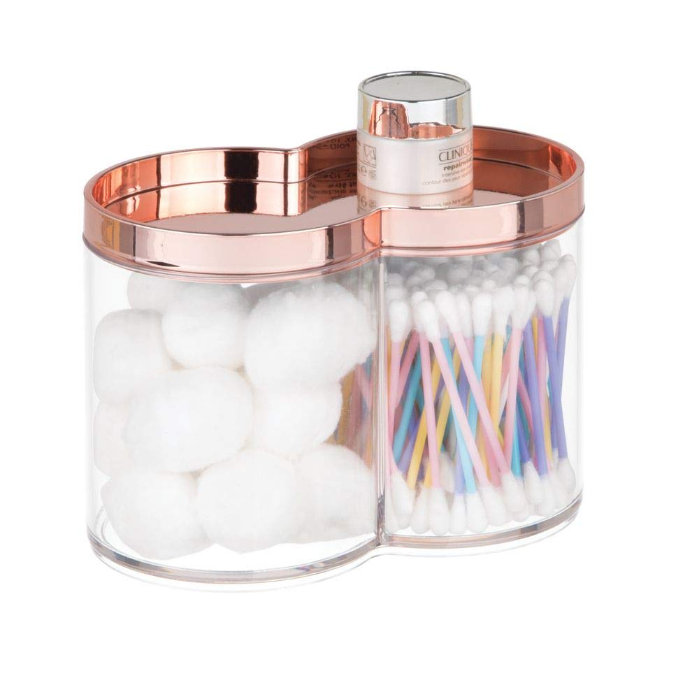 mDesign Plastic Bathroom Vanity Countertop Canister Jar with Storage Lid - Stackable - Divided, Double Compartment Organizer for Cotton Balls, Swabs, Beauty Blenders, Bath Salts - Clear/Rose Gold