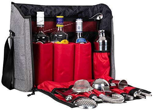 Waterproof Bartender Travel Bag-16 Inch Bar Wine Carrier Set Bag for Travelling Camping-Grey (Bag Only Leather Version)
