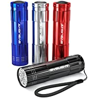 4-Pack BYB Super Bright 9 LED Mini Aluminum Flashlight with Lanyard (Assorted Colors)