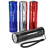 Sporting Goods : BYB Pack of 4, Super Bright 9 LED Mini Aluminum Flashlight with Lanyard, Assorted Colors, Batteries Not Included, Best Tools for Camping, Hiking, Hunting, Backpacking, Fishing, BBQ and EDC