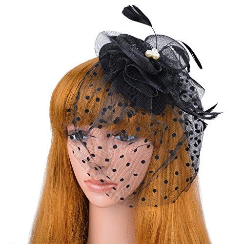 Veil Fascinator Hair Clip Mini Pillbox Hat Wedding Headwear Bridal Headpiece (Mini Hat With Veil)