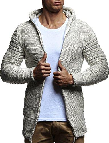 Leif Nelson Men's Full Zip Cardigan   Long-sleeved slim fit Knitwear   Basic full zipped winter hoodie for Men