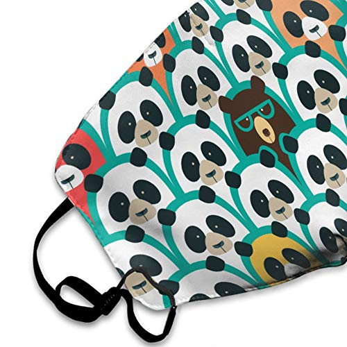 Unisex Breathable 100% Polyester Face Mouth Cover Protective Anti Dust Pollution Mouth Mask Washable Reusable Adjustable Muffle Mask (Green White and Black Panda Sunglasses Patterns)