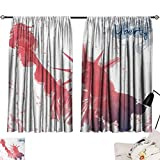 Jinguizi 4th of July Curtain for Kitchen Window Watercolor Lady Liberty Silhouette with Paint Splashes Independence Printed Darkening Curtains Dark Coral Pale Blue W55 x L39