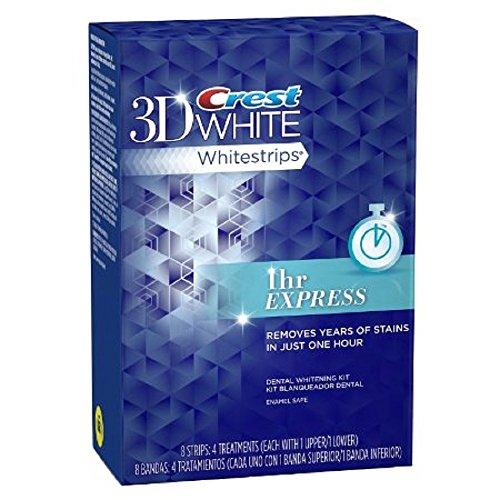 Crest 3D White Whitestrips Dental Whitening Kit, 1 Hour Express, 4 Treatments - 8 Strips (packaging may vary)
