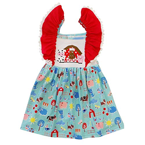 So Sydney Toddler Girls Flutter Short Sleeve or Lace Tank Cascading Ruffle Dress (6 (XL), Farm Friends) -