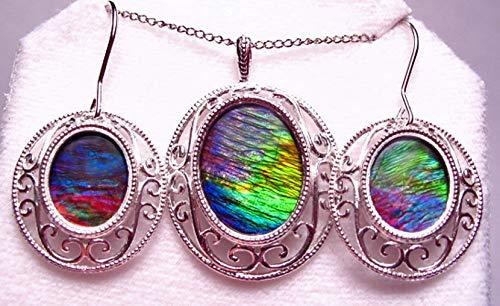 Ammolite 925 Sterling Silver Earring Pendant Set -