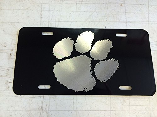 (Hammett Holdings Clemson Tiger Paw Car Tag Diamond Etched on Aluminum License Plate)