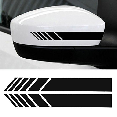 Mirror Sticker Decal - YOUNGFLY 2pcs Car Rear View Mirror Stickers Decor DIY Car Body Sticker Side Decal Stripe Decals SUV Vinyl Graphic Black