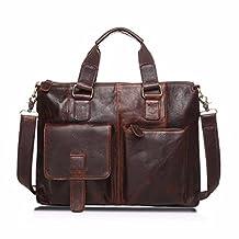 Boddenly Men's Vintage Buffalo Genuine Leather Messenger Satchel Laptop Briefcase Bag(dark brown )