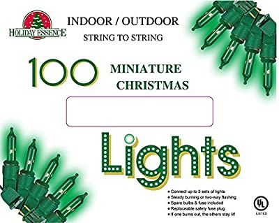 Holiday Essence 100 Green String Lights with Green Wire - Indoor & Outdoor Use - Professional Grade - Great for St Patricks Day, Garden Party, Patio Decor, or to decorate trees, bushes, & fences.