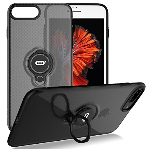 iPhone 8 Plus Case, iPhone 7 Plus Semi-Transparent Case with Ring Holder Kickstand Built-in Metal Sheet Work with Magnetic Car Mount Ultra-Slim Cover Case for iPhone 8 Plus 5.5 inch - Clear Black