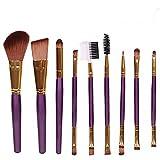 Polytree 9pcs Blush Lip Makeup Eyebrow Eyeliner Brush Set (Purple)