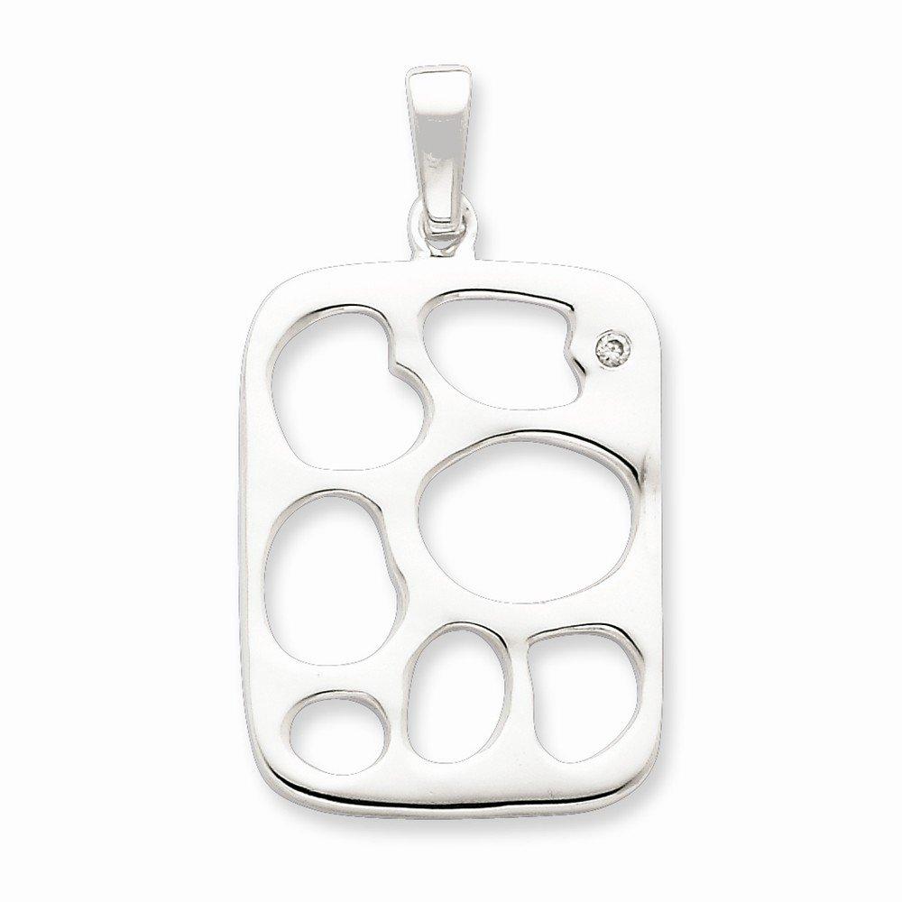 Goldia Sterling Silver /& CZ Polished Fancy Dog Tag Pendant