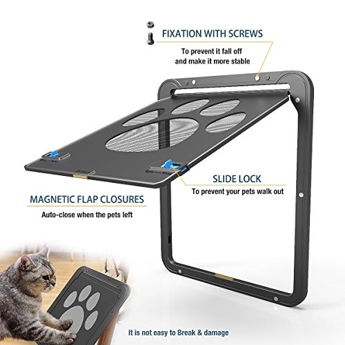 Modernlife Pet Screen Door, Magnetic Flap Screen Automatic Lockable Black Door Small Dog Cat Gate 10.2 x 8inch by Modernlife (Image #2)
