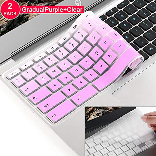 [2 Pack] for ASUS Chromebook 11.6 Keyboard Cover Skin,ASUS Chromebook 13 Keyboard Protector Skin Cover,ASUS C202SA C213SA,C223 C200 C200MA C201 C201PA,C300 C300MA C300SA C301(GradualPurple)