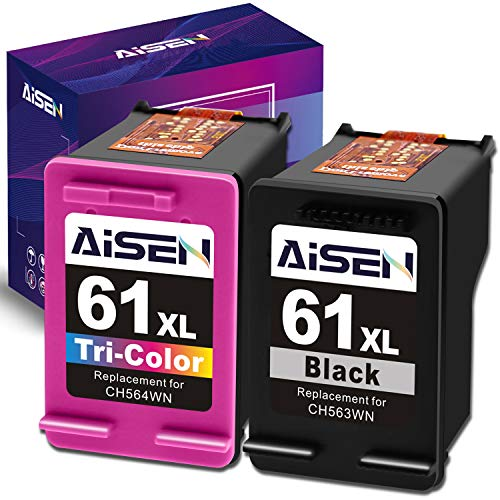 AISEN Remanufactured HP Ink Cartridge 61 Replacement for HP 61XL 61 XL Used in Envy 4500 5530 5535 Deskjet 1000 1056 1510 1512 1010 1055 2540 2542 3050 3510 3050A Officejet 2620 (1 Black 1 Tri-Color) (Printer Ink Hp 4500)