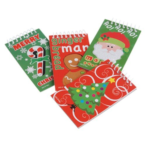 Lot Of 12 Assorted Christmas Theme Mini Spiral Notebook Memo Pads