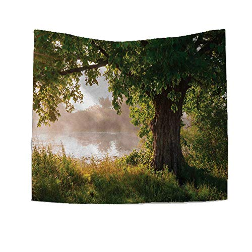 RuppertTextile Tree Square Tapestry Ancient Tree Leafage in Mystical Landscape Foggy Scenery and Stream View Print Throw, Bed, Tapestry, or Yoga Blanket 55W x 55L Inch Green Dust -