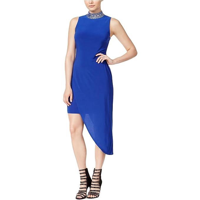 B. Darlin Womens Juniors Embellished Asymmetrical Semi-Formal Dress Blue 1/2