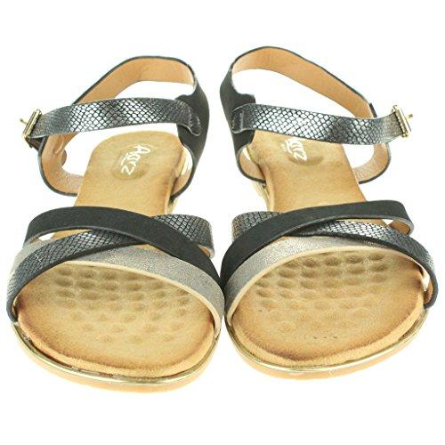 Mujer Señoras Maravilloso playa Fijación de la hebilla Punta abierta Verano Casual Comodidad Plano Sandalias Zapatos Tamaño Negro
