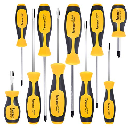 Magnetic Screwdriver Set,Famistar Cushion Grip 5 Phillips and 5 Flat Head Tips Screwdriver ()